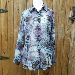CAbi Size Small Snake Print Semi Sheer Top